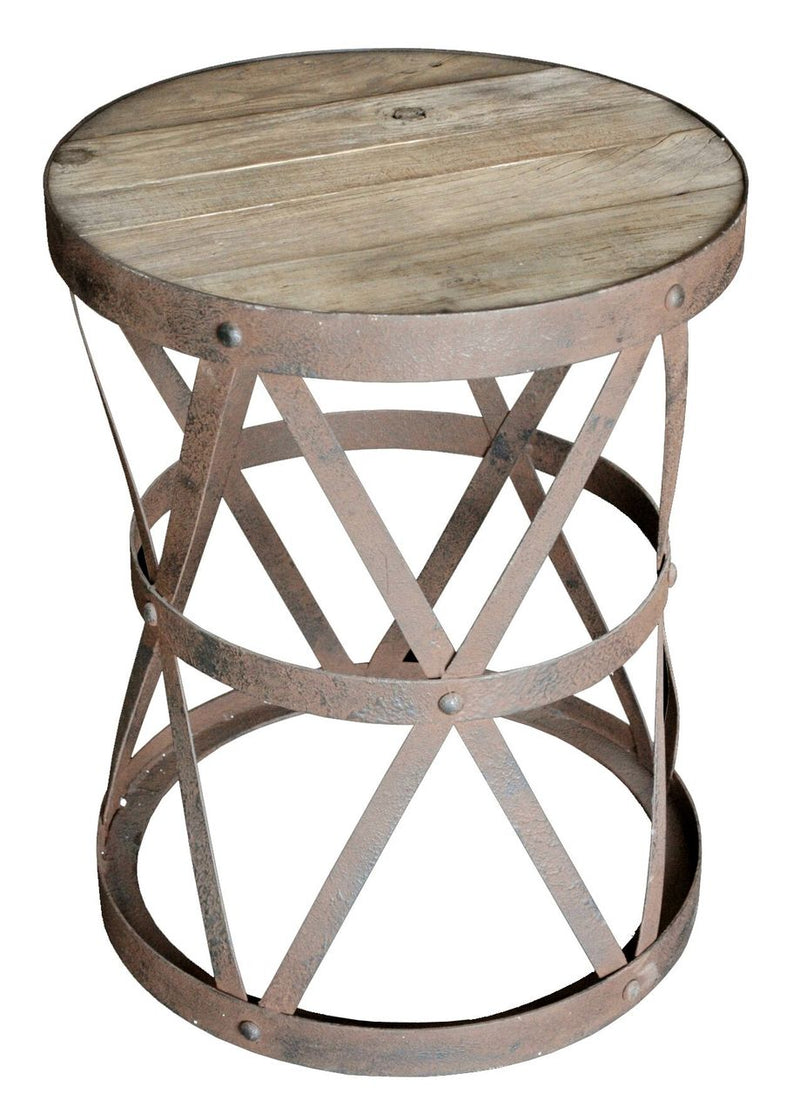 RUSTIC STEEL END TABLE - Donna's Home Furnishings in Houston