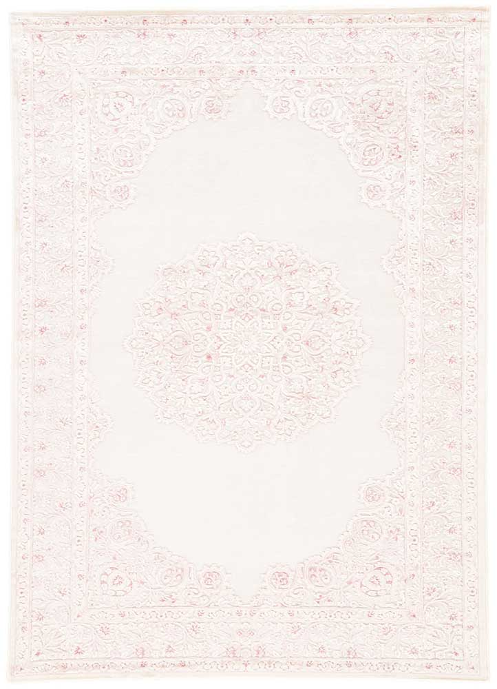 Fables FB123 Power Loomed in Bright White/Parfait Pink - Donna's Home Furnishings in Houston