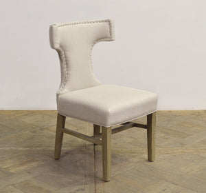 T-BACK ECRU LINEN DINING CHAIR