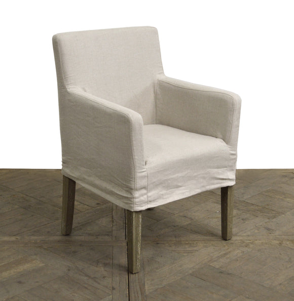 SLIPCOVERED ARMCHAIR IN ECRU LINEN