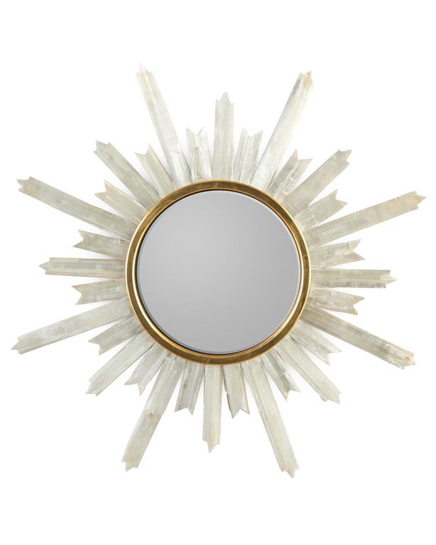 SELENITE STARBURST MIRROR - Donna's Home Furnishings in Houston