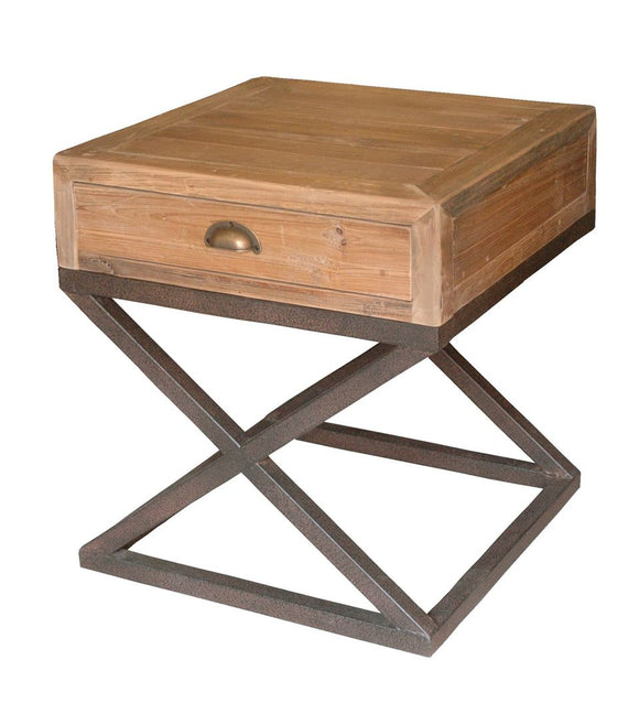 X-FRAME PINE SIDE TABLE - Donna's Home Furnishings in Houston