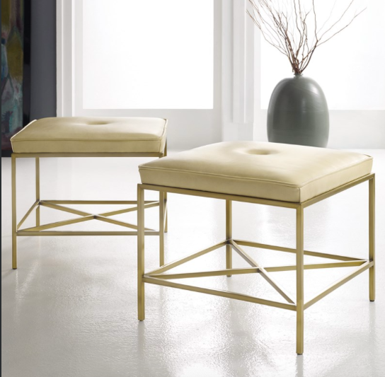 LEATHER BRASS STOOL