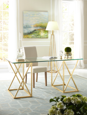 GOLD LEAF GLASS TOP DESK