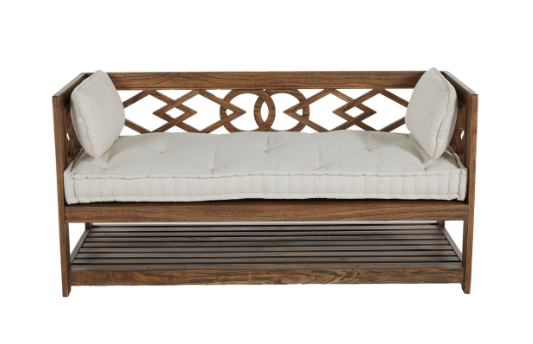WOOD BENCH W/ CUSHION