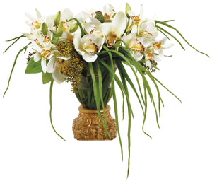 CYMBIDIUM SEDUM IN GOLD POT