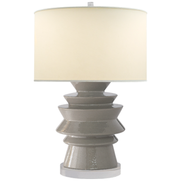 STACKED DISK LAMP SHELLISH GRAY - Donna's Home Furnishings in Houston