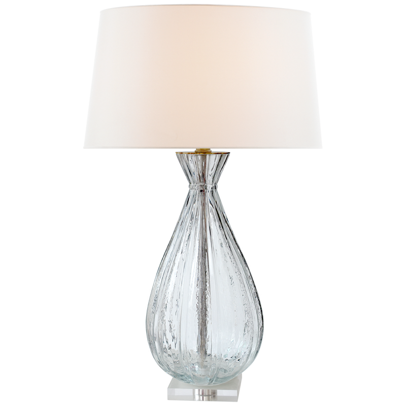 TREVISO LARGE TABLE LAMP CLEAR GLASS WITH LINEN SHADE - Donna's Home Furnishings in Houston