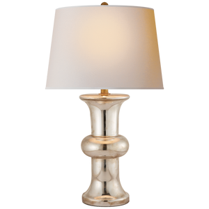 BULL NOSE CYLINDER LAMP IN MERCURY GLASS