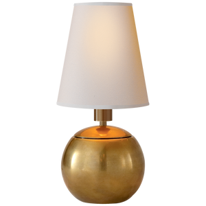 Tiny Terri Round Accent Lamp in Hand-Rubbed Antique Brass - Donna's Home Furnishings in Houston