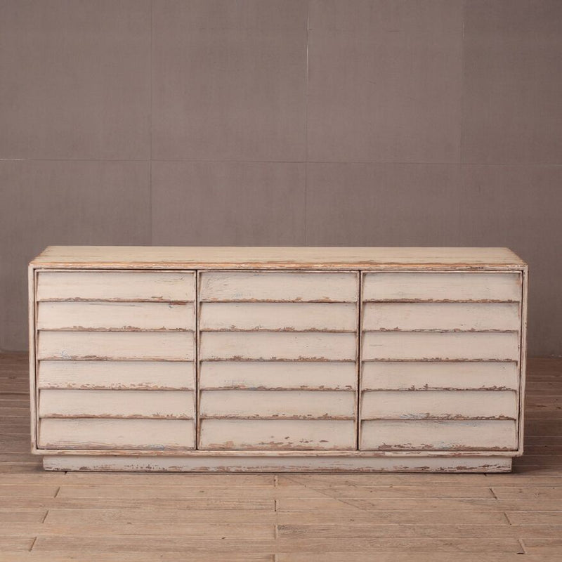 LOUVERED 3 DOOR CONSOLE - Donna's Home Furnishings in Houston