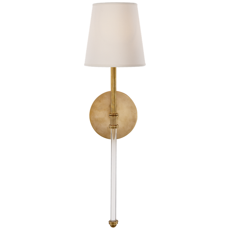 Visual Comfort Camille Sconce in Hand-Rubbed Antique Brass with Natural Paper Shade - Donna's Home Furnishings in Houston