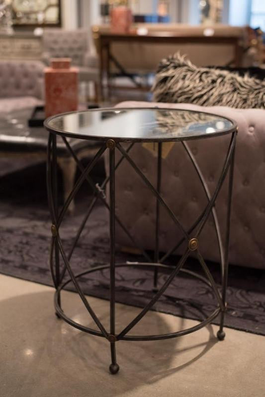 Drum & Fife Lamp Table W/Mirror Glass Top - Donna's Home Furnishings in Houston
