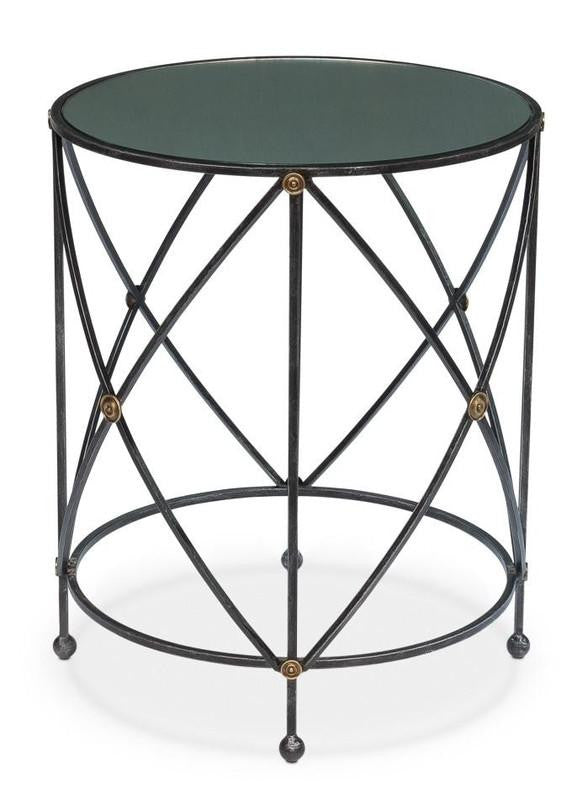 DRUM & FIFE LAMP TABLE W/ MIRROR GLASS - Donna's Home Furnishings in Houston