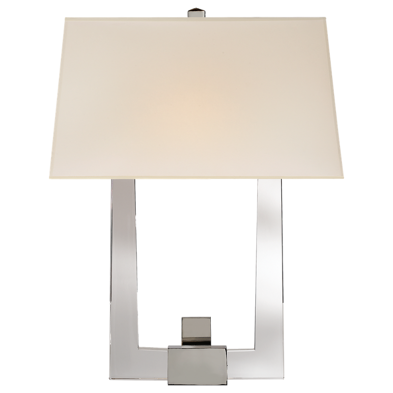 Visual Comfort Edwin Double Arm Sconce in Crystal and Polished Nickel with Silk Shade - Donna's Home Furnishings in Houston