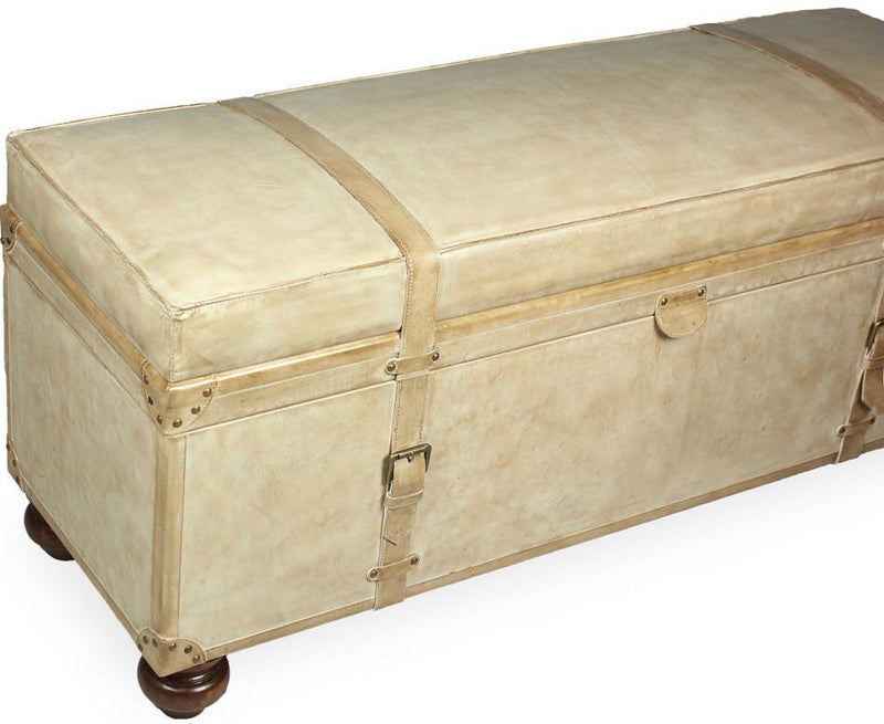 LEATHER PEARL TRUNK/BENCH - Donna's Home Furnishings in Houston