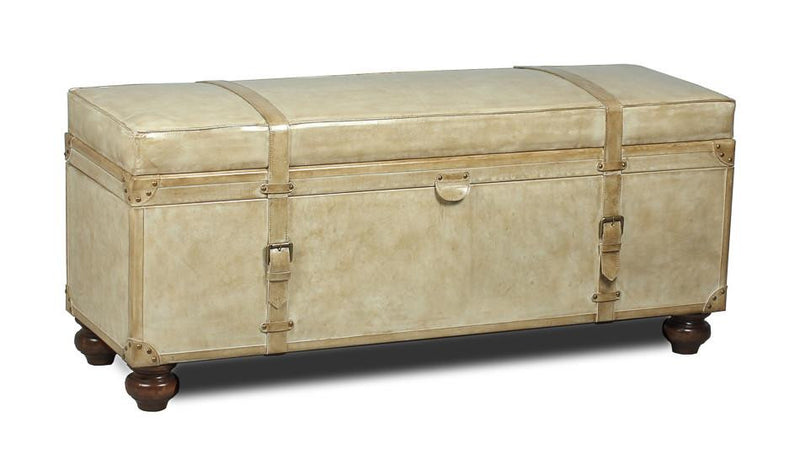Leather Trunk/Bench Pearl Leather - Donna's Home Furnishings in Houston