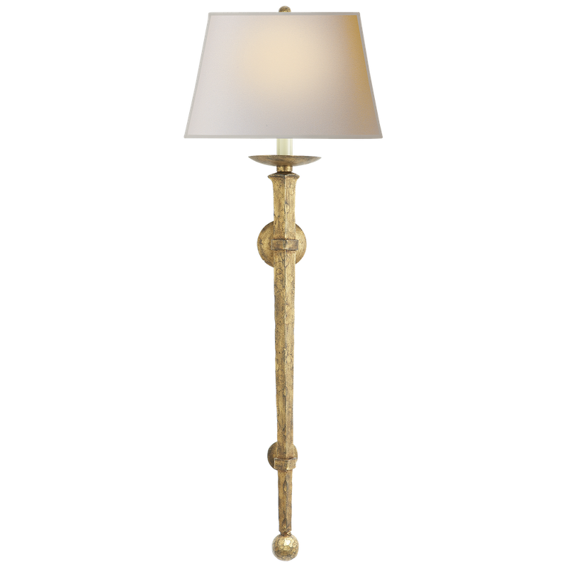 Visual Comfort Long Iron Torch in Gilded Iron with Natural Paper Shade - Donna's Home Furnishings in Houston