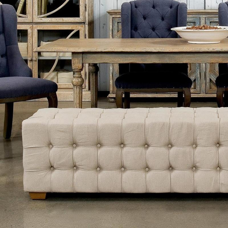 Long Tufted Bench - Donna's Home Furnishings in Houston