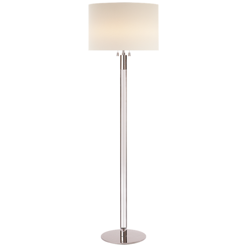 Visual Comfort Riga Floor Lamp in Clear Glass and Polished Nickel with Linen Shade - Donna's Home Furnishings in Houston