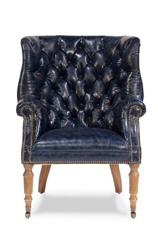 Welsh Blue Leather Chair - Donna's Home Furnishings in Houston