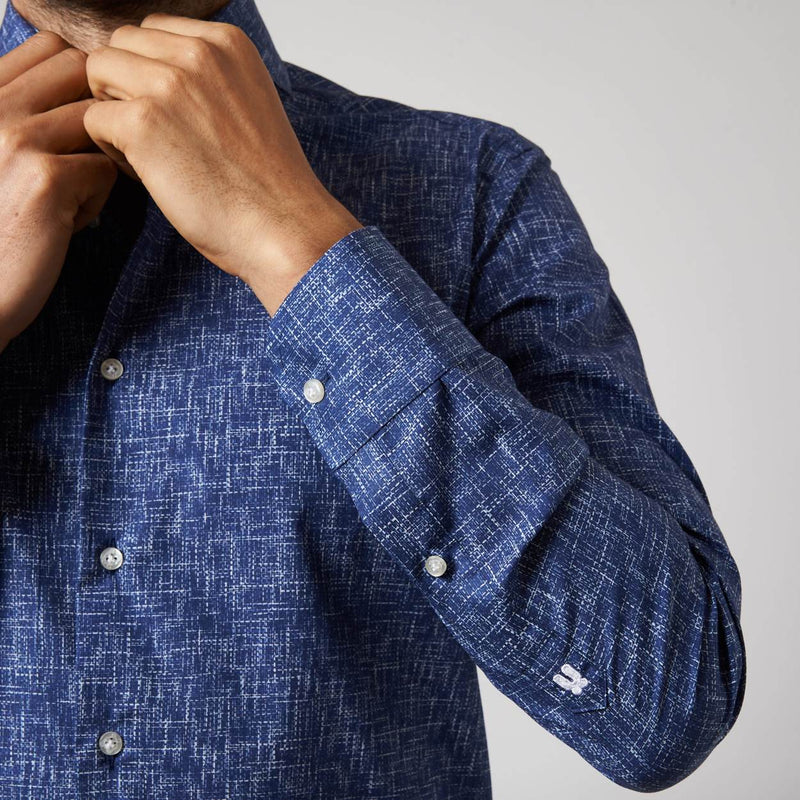 navy poplin overhemd Tritone - The Art of Camouflage