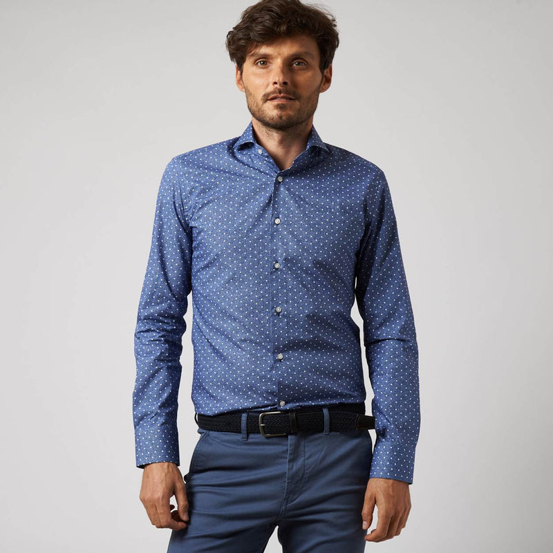navy poplin overhemd Aprile - The Art of Camouflage