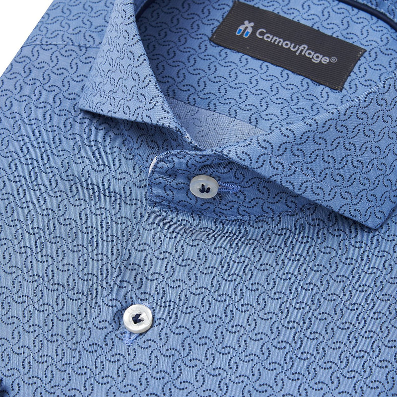 blauw poplin overhemd Ambaro - The Art of Camouflage