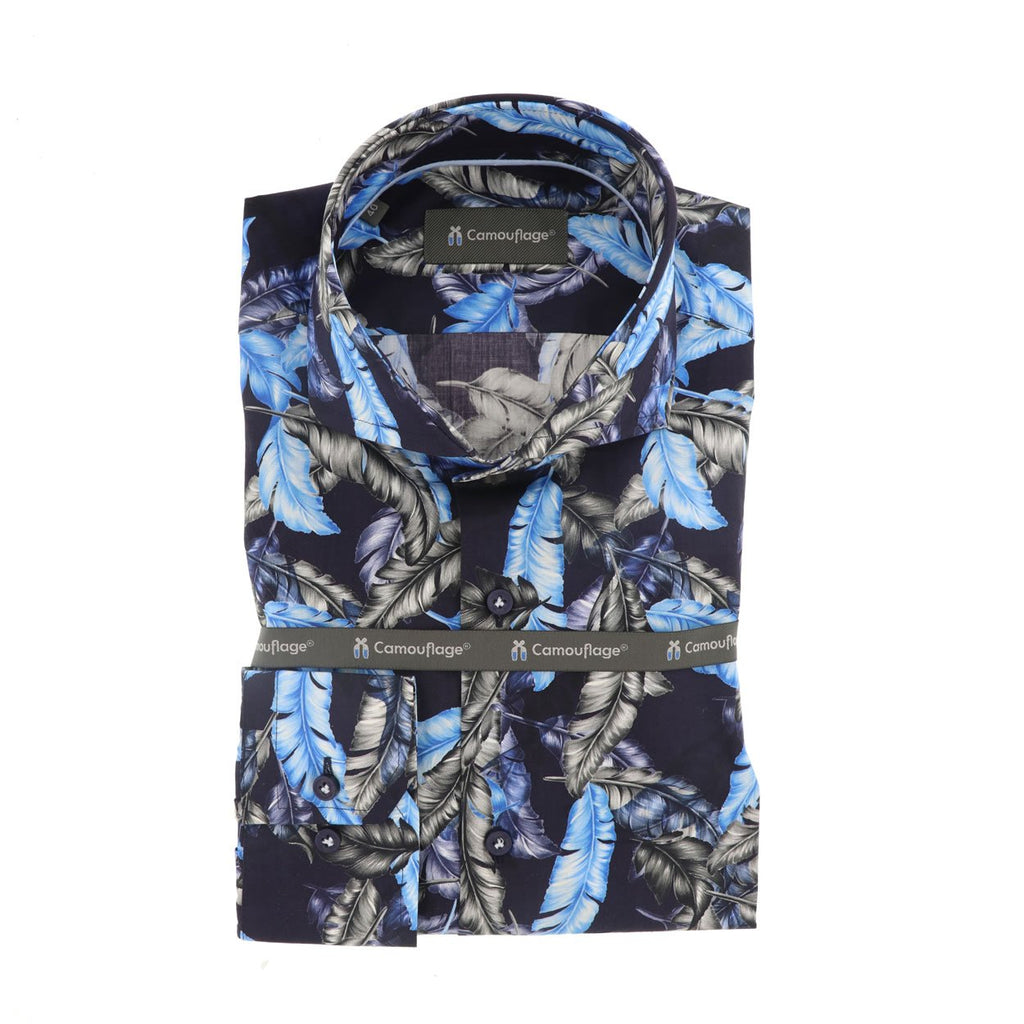 navy poplin overhemd Oxia - The Art of Camouflage