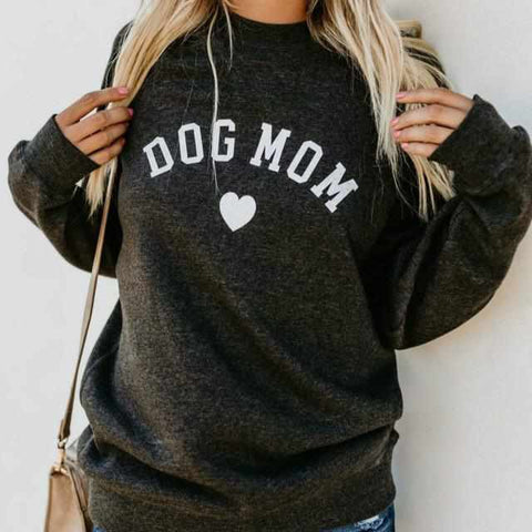 Dog Mom Crew Neck Long Sleeve Sweatshirt-Zaapy Pet
