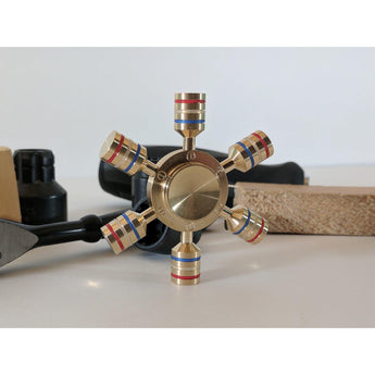 Hexagon Levers Brass Spinner-ZaaPy Zpinners