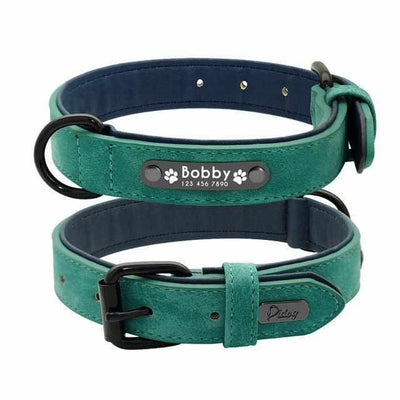 Leather Dog Collar With Personalized ID Tags-Zaapy Pet