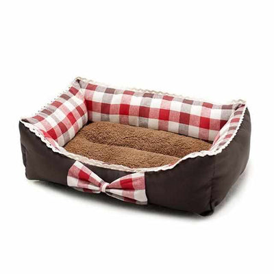 Plaid and Bow tie Cat or Dog Soft Bed-Zaapy Pet