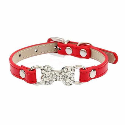 Rhinestone Leather Pet Collar-Zaapy Pet