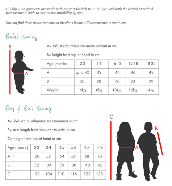 Lilly & Sid Size Guide