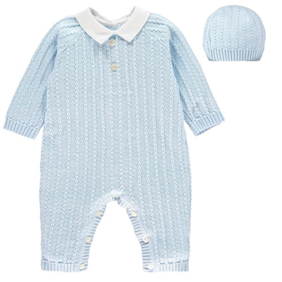 Little Marshans:Nick Smart Knit Babysuit & Hat Set: