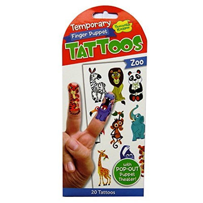 Finger Puppet Temporary Tattoo - Zoo by Peaceable Kingdom - Little Marshans
