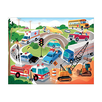 On the Road Puzzle 63 Pieces in Vehicle Scene Puzzle with Cranes, Fire Trucks & Police Cars