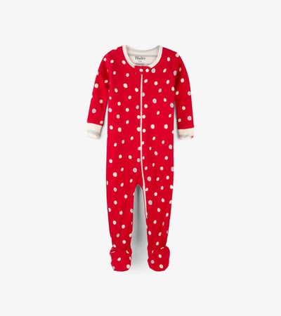 Little Marshans:Metallic Dots Organic Cotton Footed Coverall: