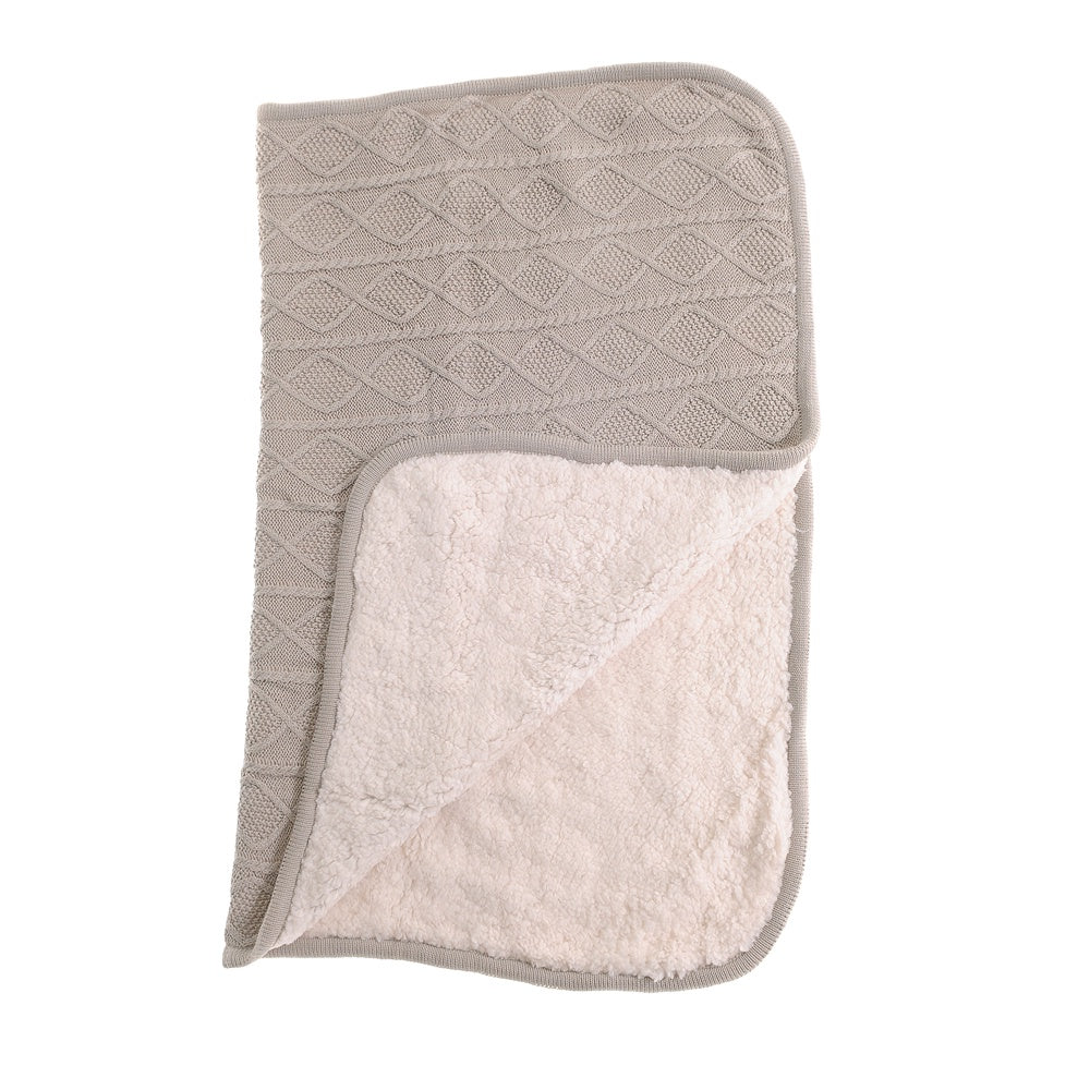 Baby Blanket in Light Grey Sherpa Fleece Cable Knit for Cot and Pram
