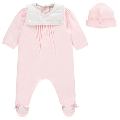 Nell Traditional Baby Girls Babygrow & Hat Set by Emile et Rose - Little Marshans