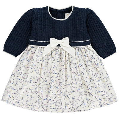 Little Marshans:Nelly Girls Navy Knit & Floral Winter Dress:
