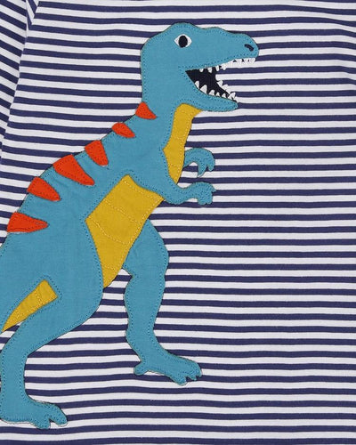 DINO BLUES STRIPE  APPLIQUE TOP - Little Marshans