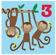 Age 3 Monkey Card - Little Marshans