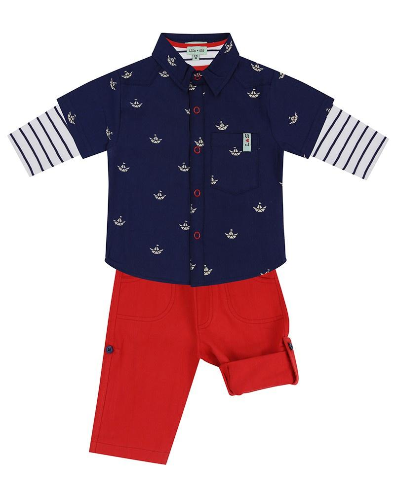 3Pc Shirt Set-Ship/Red Woven - Little Marshans