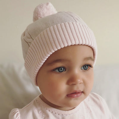 Little Marshans:Fuzzy Pink True Knit Cable Bobble Hat: