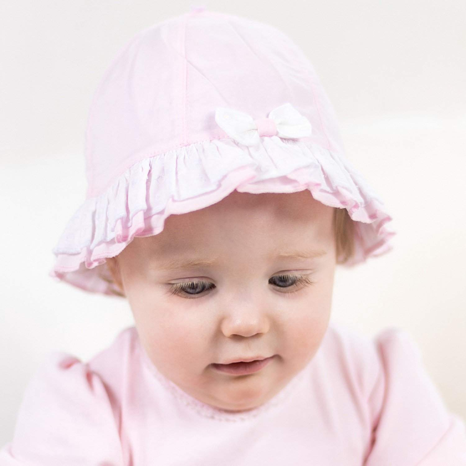 Little Marshans:Lawn Sunhat Emb Dot Trim & Bow Karlotta Pp: