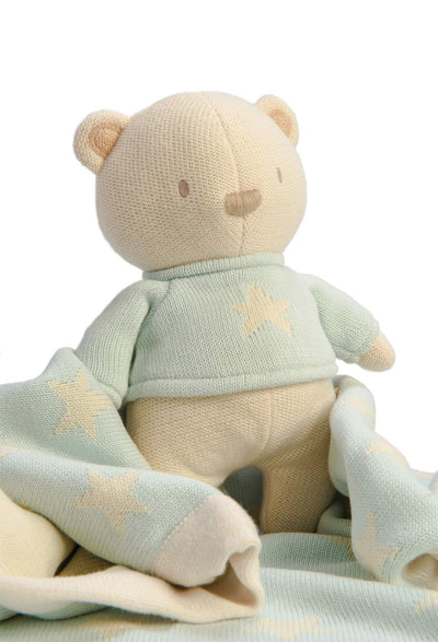 Little Marshans:Mimmo Knitted Bear & Star Blanket: