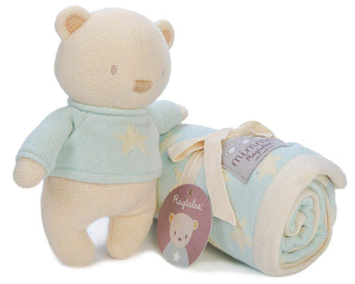 Mimmo Knitted Bear & Star Blanket by Ragtales - Little Marshans