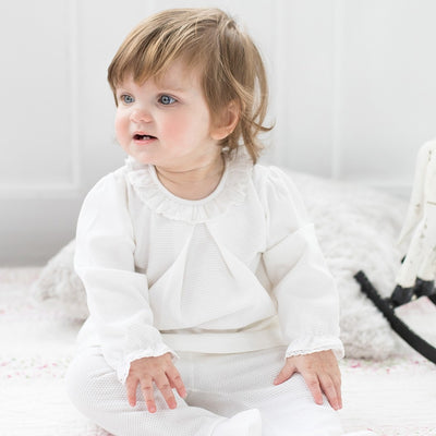 Little Marshans:Natalie White Ruffle Neck Baby Outfit: